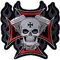 Patch Moto Kreuz von Malta Totenkopf klein