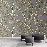 Cucsaist Tapete Wandbild 3D Blattgold Wohnzimmer Tv Hintergrund Wandmalerei Kreative Tapete, 300 * 210Cm