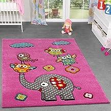 Alfombra infantil, diseño de animales de zoo, búhos y elefantes, pelo corto en color fucsia y crema, 160 x 220 cm