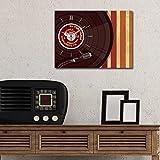 LaModaHome Home Deko auf Leinwand, mit Big Echter Running Uhr (27,9x 38,1cm) Holz Dick Rahmen Malen Musik Zeichnen Bunt Grammofon Record Überprüfen Produkte.