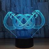 GZXCPC Zwei Schlangen 3D Optical Illusion LED Nachtlicht, Hi-azul 7-Farben ändern Touch Tisch Schreibtisch Lampe Deko Lampe mit Acryl Platte & ABS Base & USB Ladegerät für Geschenke