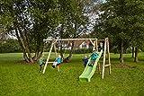 dein-spielplatz Doppelschaukel / Holzschaukel (kdi) mit Podest und Knotenseil - LENI  8 / 10 cm - mit Rutsche (Ruschenfarbe: hellgrün)
