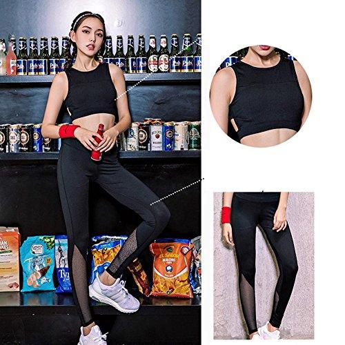 Damen Running 2 Stück Set Sport BH Set Yoga Bekleidung Anzüge, schwarz Fitness Outfit Workout Sweatsuit Activewear Set für Frauen , S (Hose Sweatsuit)