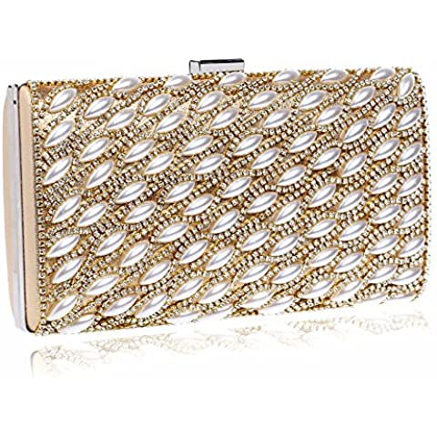 MS Peacock palla incrostato sera banchetto borsa borsetta bag bella socialite Club ladies spalla bag solido-colorato a mano,Oro bianco diamanti