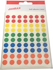 Janrax (Pack Of 560 ) Self Adhesive Assorted Coloured 8Mm Round Labels - Stickers