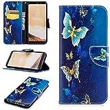 Samsung S8 Plus/Galaxy S8 Plus Hülle im Bookstyle, Samsung S8 Plus/Galaxy S8 Plus Hülle ( 6.2 Zoll) Wallet Case, COZY HUT Farbdruck Muster Flip case Hülle Schutzhülle PU Leder Brieftasche Ledertasche im Bookstyle Tasche Handytasche mit Magnetverschluss Kartenfach Standfunktion Muster Handyhülle für Samsung S8 Plus/Galaxy S8 Plus - Blauer Schmetterling