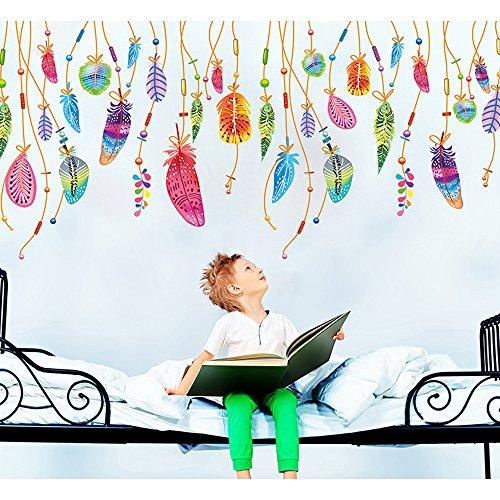 Preisvergleich Produktbild Japace® Kreative Bunten Federn Traumfänger DIY Dekorative Wandaufkleber Abnehmbare Schlafzimmer Wohnzimmer Dekoration Wandsticker