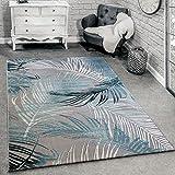 Paco Home Designer Teppich Modern Wohnzimmer Teppiche 3D Palmen Muster In Grau Türkis Creme, Grösse:200x290 cm
