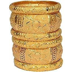 Mansiyaorange Traditional Party Casual Wear One Gram Gold Original Look Golden Bangles Set For Women