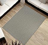 TAPISO Cottage Kollektion | Flachgewebe Teppich Sisal Optik | Muster Geometrisch Netz in Grau | Wohnzimmer Küchen Terrassen Teppiche 120 x 170 cm