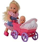 Simba 105736241 - Evi Love Puppe mit - Minipüppchen und Puppenwagen, 2-sort.