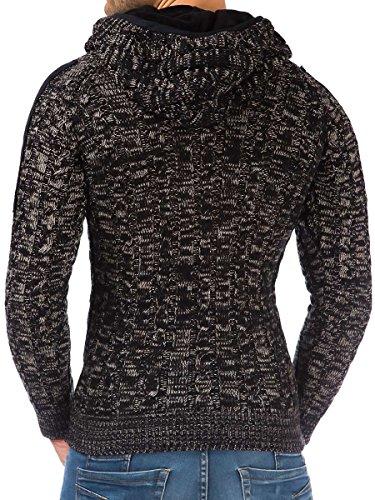 Pullover Herren Strickpullover Hoodie Winter Pulli Kapuze Tazzio Slim Fit Langarm Shirt Schwarz
