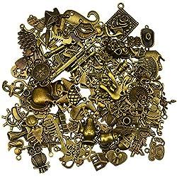100 pièces antique bronze vintage charmes ensemble bricolage accessoires faits à la main collier pendentifs fabrication de bijoux fournitures