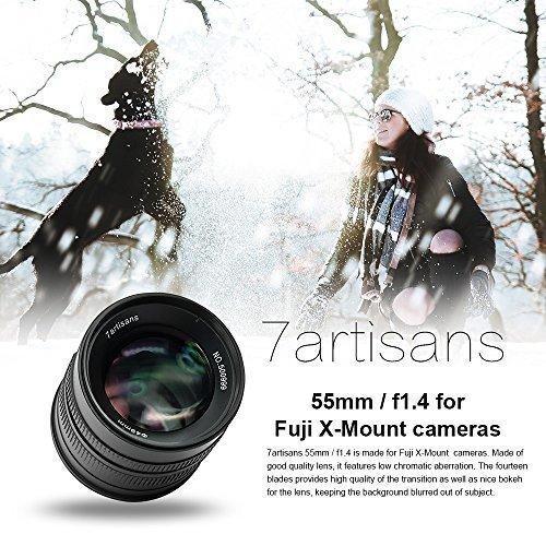 7artisans, obiettivo per messa a fuoco manuale, da 25mm, f/1.4,per fotocamere Fujifilm Fuji X-A1 X-A10 X-A2 X-A3 X-AT X-M1 XM2 X-T1 X-T10 X-T2 X-T20 X-Pro1 X-Pro2 X-E1 X-E2 X-E2s, colorenero