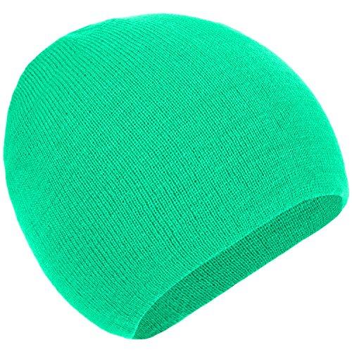 Green Knit Beanie Cap (4sold Unisex Mädchen Winter Hut Strickmütze Fleece Cap SKI Snowboard Hüte Chunky Knit Beany (Neo Green))