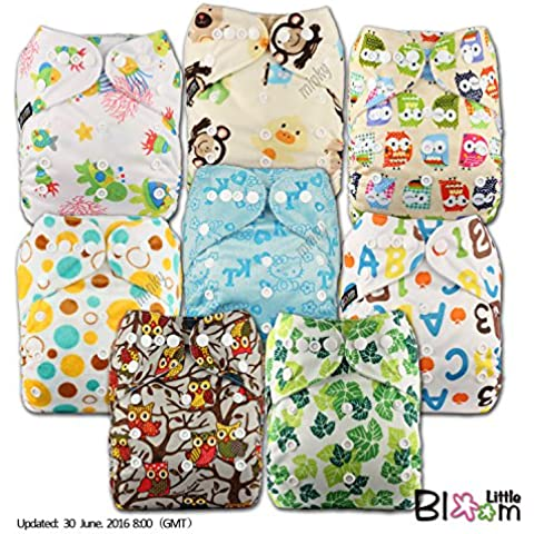 LittleBloom Panno Pannolini Lavabili Tasca Pannolino Riutilizzabile, Di Fissaggio: POPPER, Set Di 8