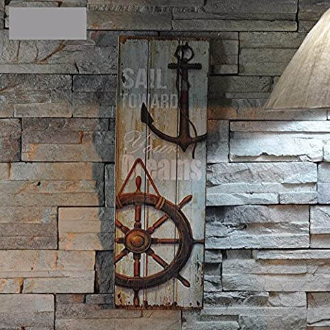 KING DO WAY Rustic Anchor Wood Sign Plaque Wall Art Picture Lighthouse Design Nautical Decor