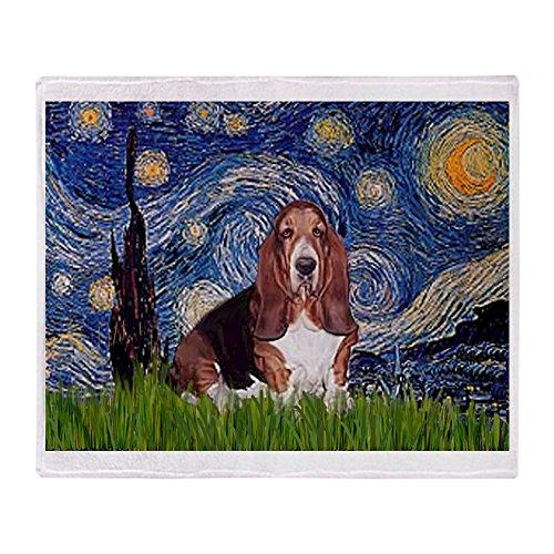 CafePress-Starry/Basset Hound-weicher Fleece Überwurf Decke, 127x 152,4cm Stadion Decke, weiß, 50x60 Basset-hound-fleece
