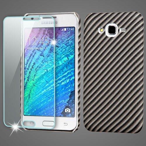 J7Fall Samsung Galaxy J7(Boost, Virgin, Tmobile Geeignet, Metro Pcs) Handarbeit Flexible [Ultradünn] PU Leder und heattransfer Technologie [Kratzfest], mit Gratis-Sicherheitsglas, Carbon Fiber T-mobile Carbon
