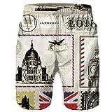 WUDUBE Hommes Casual 3D Imprimé Plage Travail Casual Hommes Court Pantalon Shorts Pantalon