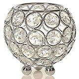 VINCIGANT Moderno Cristallo d'argento Candela Tealight Manicotti Centrotavola Decorativo per Centrotavola, Compleanno, Anniversario, 8 centimetri di diametro