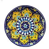 #4: Om Craft Villa Blue Pottery Ceramic Decorative Wall Hanging Handmade Plate