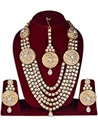 FULLY Traditional Multi-Strand Rani Har (Haar) Long Necklace With Earrings And Maang Tikka Set For Women / Rani...