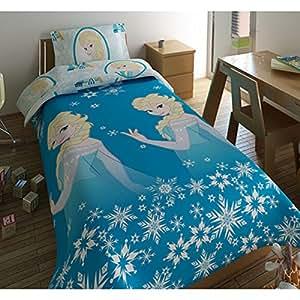 Housse de couette et taie d'oreiller La Reine des Neiges fille - Bleu - 140x200 cm