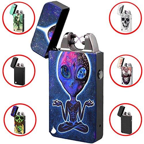 USB Feuerzeug -The Flame X- Elektronisches Feuerzeug Zigarettenanz&uumlnder Elektrische Feuerzeuge Aufladbar Double Lichtbogen (Alien 2)