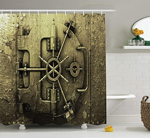 Rustic Decor Collection, Grunge Style Bank Vault Illustration Safe Secure Precious Treasure Protection Image Pritn, Polyester Fabric Bathroom Shower Curtain Set with Hooks, Dark Olive,72x72 inches (Vault Health)