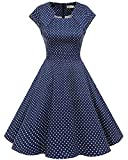 Homrain Damen 50er Vintage Retro Kleid Party Kurzarm Rockabilly Cocktail Abendkleider Navy Small White Dot 3XL