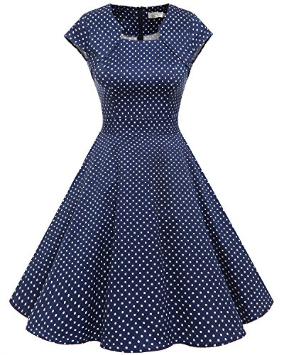Homrain Damen 50er Vintage Retro Kleid Party Kurzarm Rockabilly Cocktail Abendkleider Navy Small...