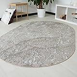 Moderner Teppich Kelim Kilim für Bad Flur rutschfest und waschbar Designer Muster in Rund un Oval in Beige (Rund 120cm x 120cm)