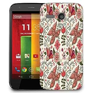 Snoogg Floral Leaves White Designer Protective Phone Back Case Cover For Motorola G / Moto G