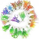20 Stück Künstliche Wasserpflanzen Aquarienpflanzen Plastikpflanzen Kunststoff Pflanzen Wassergras Simulation Schöne Dekoration für Fish Tank Aquarium
