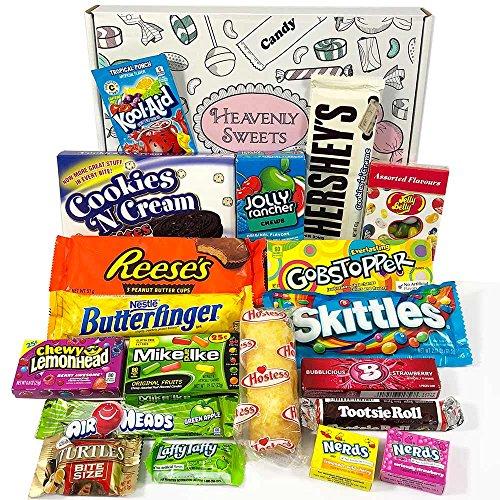 Amerikanische Süßigkeiten Geschenkkorb von Heavenly Sweets | Süßigkeiten aus den USA | Auswahl beinhaltet Jolly Rancher, Hersheys, Reeses, Jelly Belly, Skittles | 19 Produkte in einer tollen retro Geschenkebox