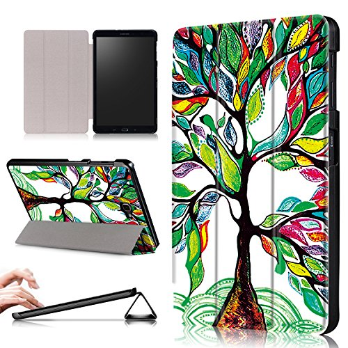 Xuanbeier Ultra Slim Custodia Leggero Supporto Smart Cover con Funzione Sleep/Wake per Samsung Galaxy Tab A6 10.1 25,7 cm sm-t580 N T585 N,Tree