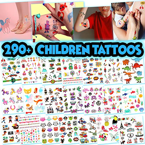 BETTERLINE Kids Temporary Tattoos - More Than 100 Assorted Body Art Design Tattoos for Children (Tattoos for Kids - 21 Sheets)