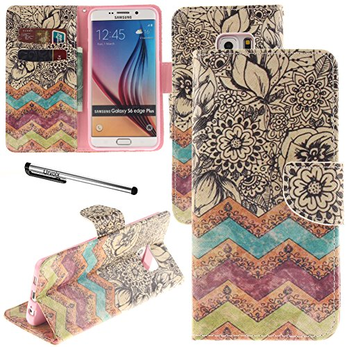 Galleria fotografica Urvoix Galaxy S6 Edge G925 case, carta supporto Custodia a portafoglio in pelle – Flower Wave Flip Cover per Samsung Galaxy S6edge