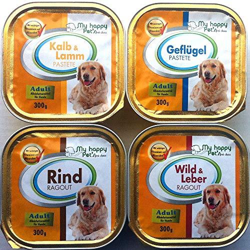 My Happy Pet´s 54 x 300g Hundefutter Pastete und Ragout 4 Verschiedene Sorten