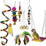 Jouets pour Oiseaux, Camiter 7 Pièces Jouets à mâcher , Jouets à Suspendre avec Clochette , Balançoires, Échelles, Décoration