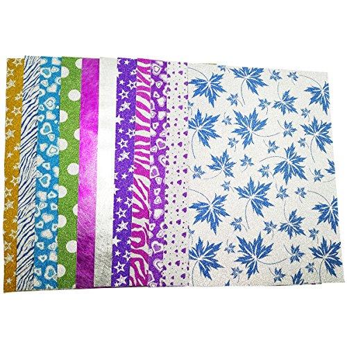 10 Blatt Klebefolie Glitzer Selbstklebende Dekofolie A4 Farbige Bastelfolie Glitter Vinyl Aufkleber für DIY Handwerk Scrapbooking Bunt