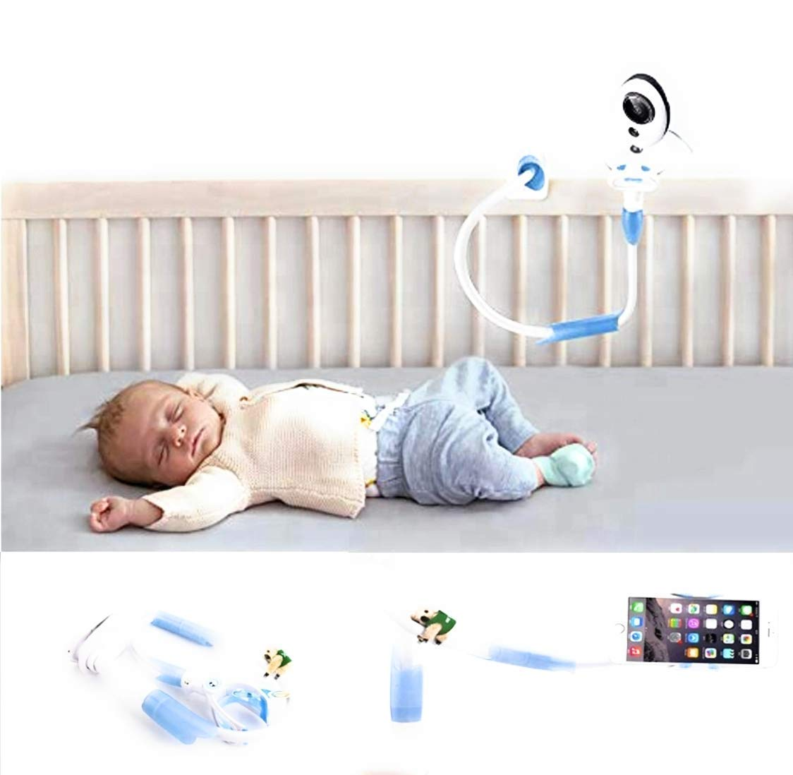 Universal Baby Monitor Holder with Straps, Flexible Hose Camera Stand by WOndr : Clamp Easy and Safe Mounted on Shelf for Nursery : Best Fit for Baby Video Monitor Cameras with Bases (Blue)  Shenzhen Top Nice International Technology Development Co., Ltd