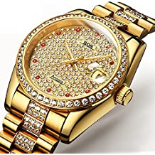 BOS Unisex oro crystal mecánica calendario oro tono acero inoxidable resistente al agua vestido reloj