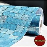 DooXoo Faux Tile Mosaic Aluminum Foil Self-adhensive Anti Oil Wallpaper 45x200cm for Kitchen Tile Backsplash Decorative Ceramic Tile (Blue) by DooXoo