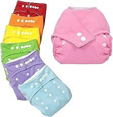 20 Stück Wiederverwendbare Waschbare Verstellbar Babywindeln Baby Windelhose Baby-Tuch-Windel Weicher Stoff, Größe Verstellbar (Rot Pink Orange Gelb Grün Blau Purpur)
