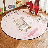 Xiaoping Runde Teppich, Bär Muster, Schlafzimmer Wohnzimmer Couchtisch Bodenmatte, Hängestuhl Bodenmatte (Size : 80cm)