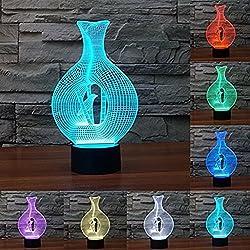 Youzone Panel mágico 3D Ilusión de visualización óptica 7 colores Cambiar el interruptor táctil USB Lámpara de mesa Bulbing Luz LED Noche Iluminación Decoración del hogar Luces del hogar (Pájaro en jaula)