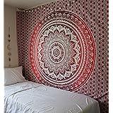rawyalcrafts Rouge Ombre indien Mandala hippie Tapisserie, reine Mandala mur tapisserie Home Decor, pensée magique à suspendre