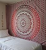 RawyalCrafts Red Ombre indiano Hippie Mandala Arazzo, Regina Mandala Decorazione per la Casa, Magico Thinking Tappezzeria da appendere alla parete